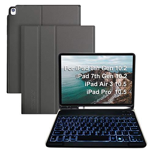 "Keyboard Case for iPad 8th Gen(2020)/7th Gen(2019) 10.2"",7 Colors Backlit Keyboard for iPad Air 3rd 10.5""/iPad Pro 10.5"", Detachable Wireless Bluetooth Keyboard,Bulit-in Pencil Holder(Gray)"