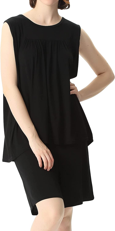 Lu's Chic Women's Pajama Set 2 Piece Loungewear Cotton Pj Short Lounge Set Plus Size Sleeveless