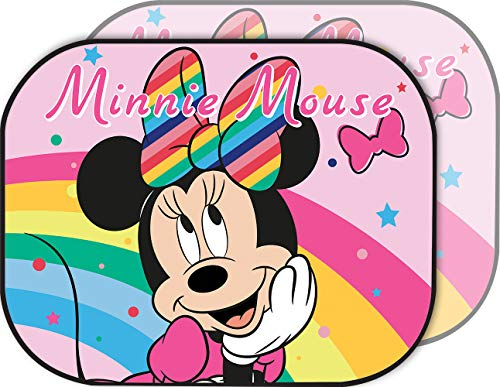 Disney Minnie Sunshade - Par de parasoles Laterales para Coche de niña, Color Rosa
