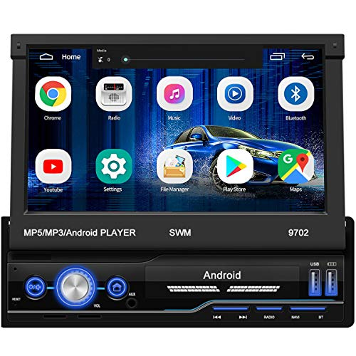 Single Din Car Stereo with GPS Navigation,WZTO 7 inch Android 8.1 Touch Screen Car Stereo in Dash Navigation Car Radio Video Player with Bluetooth GPS WiFi Mirror Link Multimedia(1G RAM+16G ROM)