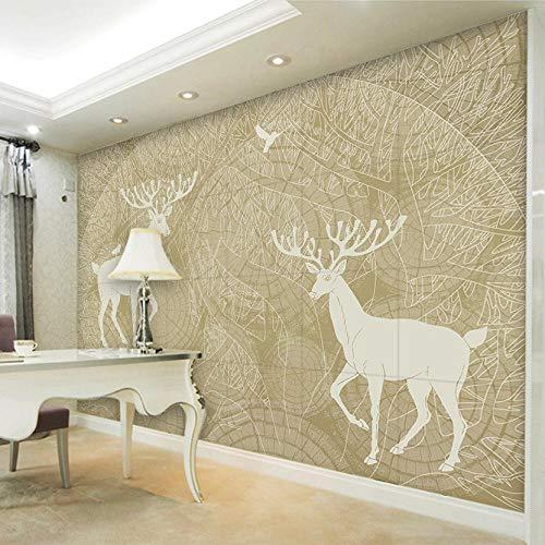 Fotobehang 3D muur muurschildering Aangepaste Abstract Met de hand beschilderd boom bos vogels herten TV decor decor schilderen moderne woonkamer 200 x 150 cm.