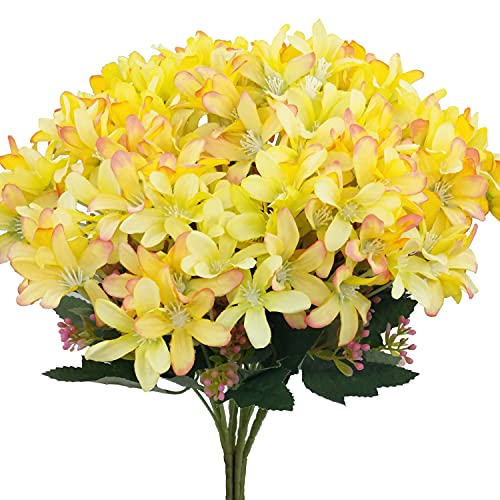 CORVYUC 6 Bundles Artificial Daffodil Silk Flowers Indoor Outdoor Faux Fake Flowers for Home Kitchen Office Garden Porch Window Table Vase Wedding Bouquet Decor (Yellow)