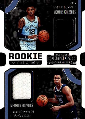 2019-20 Panini Contenders Rookie Ticket Dual Swatches #6 Brandon Clarke/Ja Morant Game Used Jersey Memphis Grizzlies NBA Basketball Trading Card