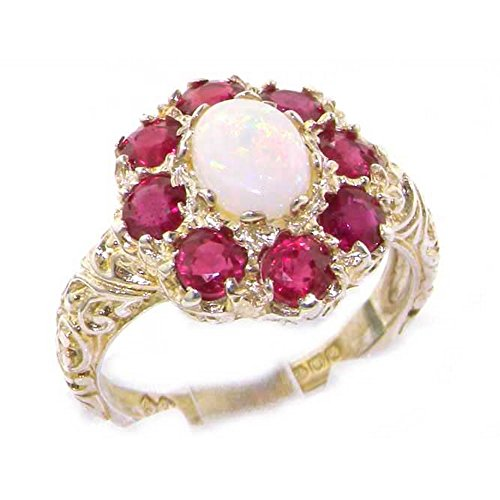 925 Sterling Silver Natural Opal & Ruby Womens Statement Ring - Size O