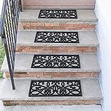 "Sweet Home Stores Rubber Stair Treads, Black Iron Cutout, 10"""" X 30"" (5PK), Flower Iron Cutout"