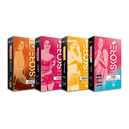 Skore Four Play Condoms-40 Dotted and Flavored Condoms (Belgiam Chocolate, Cherry, Pinacolada, Cool Watermelon)