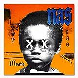 yhnjikl Affiches Et Gravures Illmatic XX Mas Publication Rap Musique Rap Hip Hop Album de Musique Art Affiche Toile Peinture Décor À La Maison 50X50 Cm sans Cadre