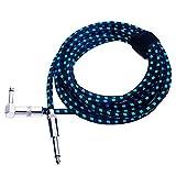 Rayzm Cable de la Guitarra - 5m Silencioso Guitarra/Bajo y Acordes, 1/4' (6.35mm) en ángulo Trenzado Conector Macho Mono TS, el Cable Es una Mezcla de Lana Tejida (Azul)