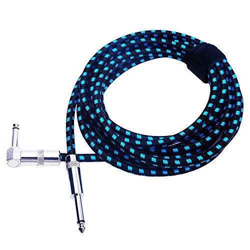 Rayzm Cable de la Guitarra - 3 Metros Silencioso Guitarra   Bajo y Acordes, 1 4   (6.35mm) en ángulo Trenzado Conector Macho Mono TS, el Cable Es una Mezcla de Lana Tejida