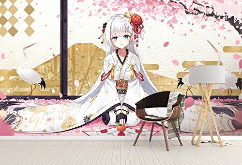 Egret Cherry Blossom Kimono Girl Anime Wall Paper muurprint, wanddecoratie (H)200 (W)140cm 1 exemplaar