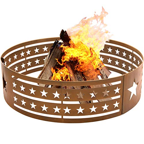 Amagabeli 30' Fire Ring Pit Round Wilderness Wood Burning Camping Backyard Beach Campfire Outdoor Heavy Duty Firebowl 2mm Thick Fire Circle High Temperature Paint Campground Liner Rustproof Bronze