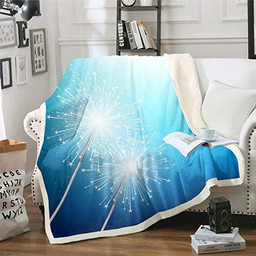 Manta polar con diseño de diente de león para niños, niñas y niñas, manta de felpa azul gradiente para sofá cama, sofá cama, sofá, bebé, 30 x 40 pulgadas