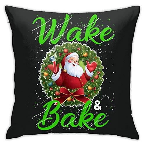 Almohada con relleno de almohada para despertar y hornear, regalo de Navidad, almohada decorativa suave, cojín cuadrado para cama, sofá, coche, 45,7 x 45,7 cm