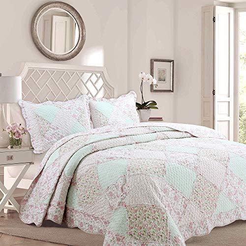 Cozy Line Home Fashions La Rosa Rve Quilt Bedding Set, Floral Pink Green Rose Flower 3D Real Patchwork,100% Cotton Reversible Coverlet Bedspread Set(Pink Roses, Twin - 2 Piece)