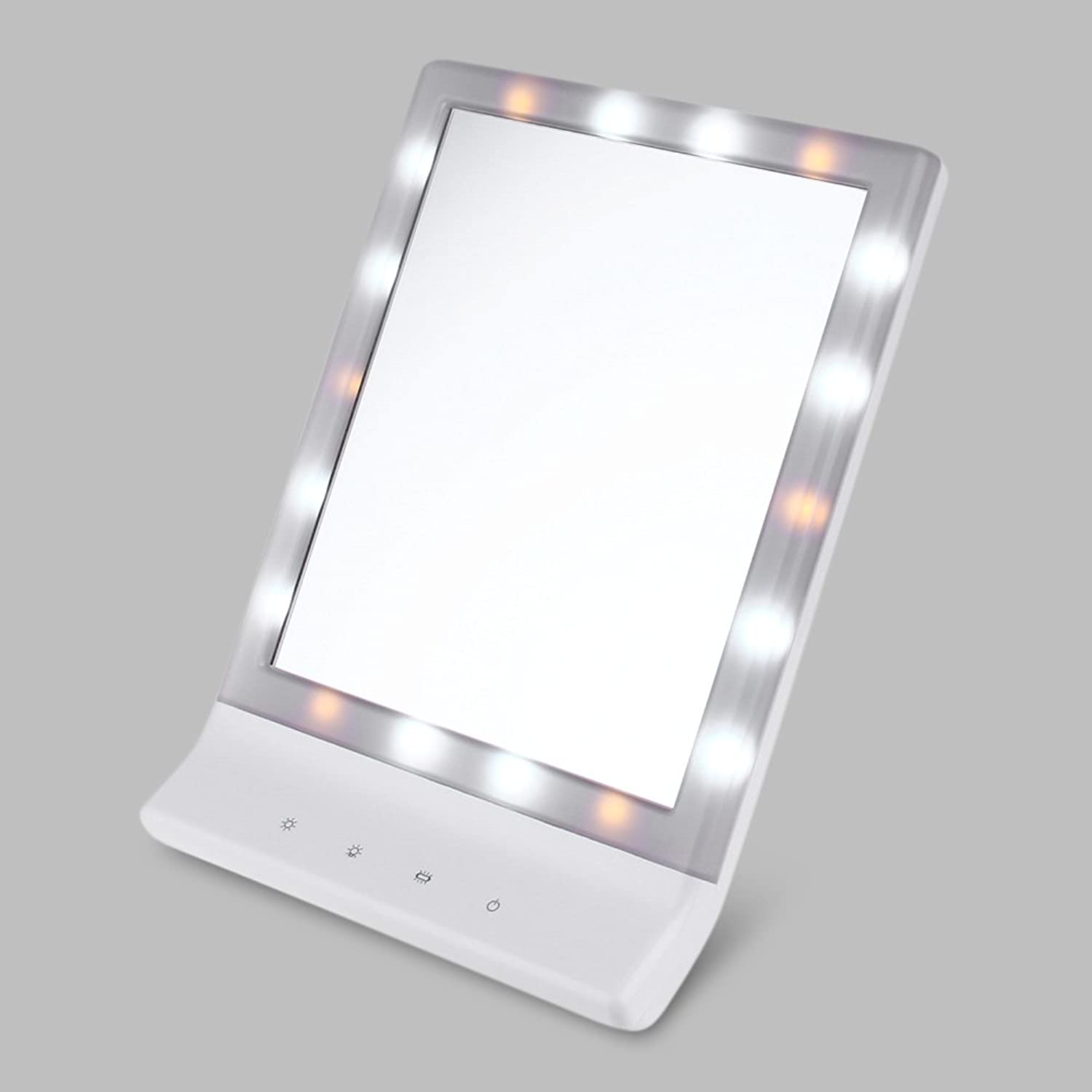 18 LEDs ABS Raw Material Touch Screen Folding Toilet Lighted Makeup Mirror Intelligently Adjust Light Brightness,29.50 x 20.50 x 2.20 cm