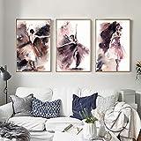 YuanMinglu Pintura Abstracta Acuarela Carteles e Impresiones murales Arte Mural Danza niña Imagen Sala decoración de la Pared Pintura sin marco40x60cm