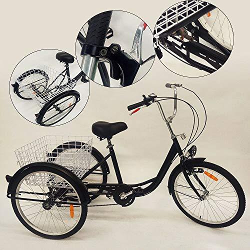 YUNRUX Dreirad 3 Rad Erwachsene Fahrrad mit Warenkorb 24 Zoll 6 Gänge Erwachsenendreirad Dreirad für Erwachsene Schwarz
