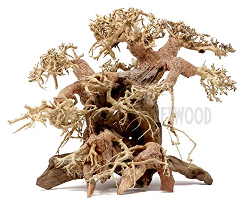 Bonsai Driftwood Aquarium Tree AB (9 Inch Height x 12 Inch Length) Natural, Handcrafted Fish Tank Decoration | Helps Balance Water pH Levels, Stabilizes Environments | Easy to Install