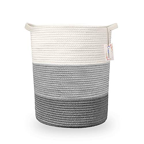 Signreen Cotton Rope Storage Basket 18'×15.7' Laundry Hamper Woven Tall Foldable Laundry Basket for Blankets Clothes Toys Pillows Towels Baby Nursery Bathroom Living Room