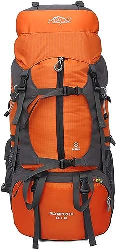 YNNB Sac à Dos de randonnée 65L, Sac à Dos de Voyage étanche Grand Sac à Dos pour Sac de Sport en Plein air Sac à Dos Unisexe pour Trekking Pique-Nique Camping,Orange