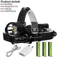 LEDヘッドランプ懐中電灯、90000 Lumens XHP70.2より強力なLEDヘッドライト、充電式USB防水ヘッドライト、3 18650充電式バッテリー懐中電灯ヘッドライト、C、色:E (Color : C)