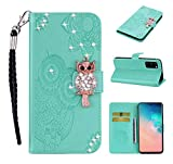 Strap Diamond Wallet Case for Samsung Galaxy S20 6.2',Aoucase Luxury 3D Owl Bling Gems Magnetic Cute Mandala Print PU Leather Soft TPU Stand Flip Case with Black Dual-use Pen - Green