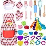 Tacobear 38 Pezzi Set da Cuoco per Bambini, Grembiule Cucina Bambini Chef Set Bambini Kit di Utensili per Cucina Giocattolo Costumi Gioco d'Imitazione Regalo di Compleanno e Natale