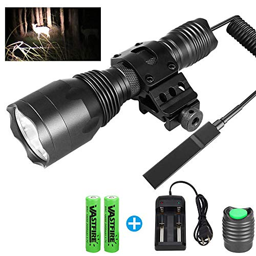 VASTFIRE 1000 Lumen Flashlight for AR 15 with Offset Mount, 1 Mode Powerful Tac Light for Camping,Hunting or Recreational Shooting, AR Flashlight with 18650 Battery for Home Defense