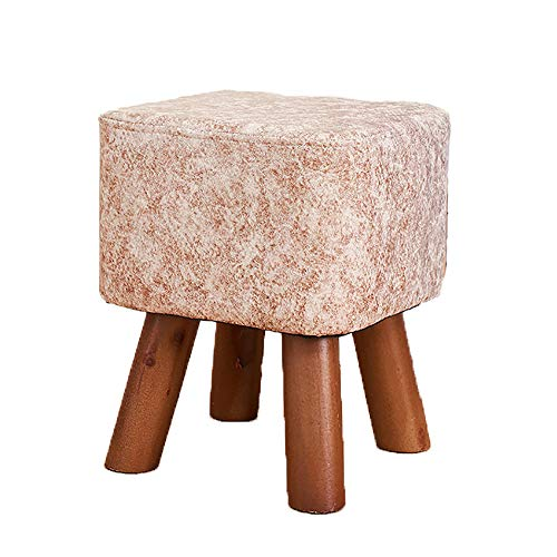 Small Footstool, Small Footstools PU Faux Leather Foot Stool Rectangle Footrest Padded Seat, 252828cm 4 Wooden Legs Modern Small Round Stool Foot Stools, for Home Living Room Fitting Room,D