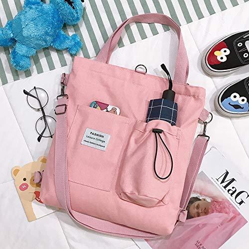 Neaer Bolso simple para mujer, diseño de oso con impresión de lona, bolso japonés literario, bolso de hombro casual para la compra (color: rosa)