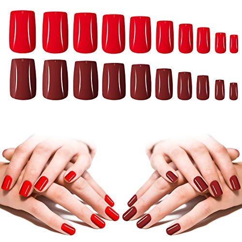 Red Press On Nails Medium Length, 200PCS Cosics Full Cover Square Shape Fake Nails Red & Burgundy, 10 Sizes Colored Acrylic False Nail Tips Coffin with Storage Box for Women Salon Nail Art DIY
