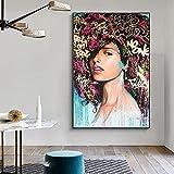 Mural decorativo Pintura al óleo de flores rosas Vintage nórdico sobre lienzo, póster artístico de p...