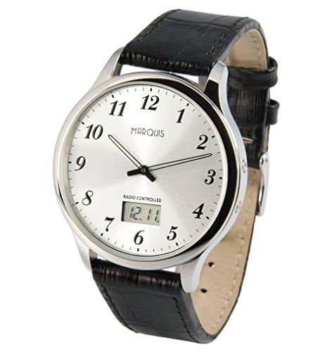 Marquis Herren Funkuhr, Edelstahlgehäuse, Schwarzes Lederarmband mit Edelstahlverschluss, Armbanduhr 964.4716
