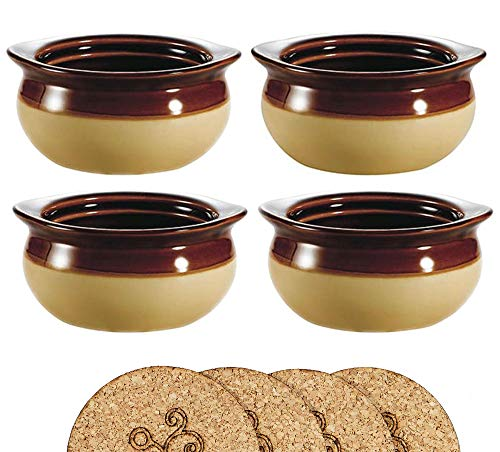 Ecodesign Bowls - Set of 4 - Brown and Ivory French Onion Soup Bowls - 300 ml (10.5 Ounce) – Porcelain Classic European Style Healthy Portion Crocks – Oven/Microwave safe