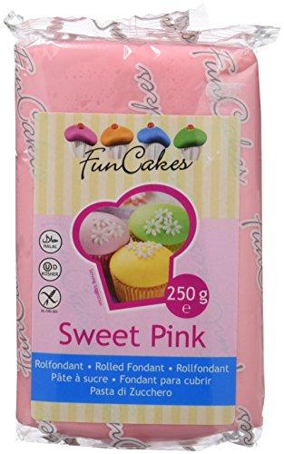 FunCakes Fondant para Cubrir Tartas, Cupcakes, Galletas o Modelar color Rosa: Sabor Vainilla, Flexible, Sin Gluten, Halal, Kosher D, Apto Véganos, 250g, FC97250