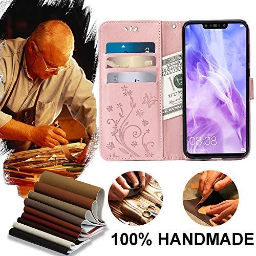 Teebo Hülle für Huawei Nova 3 Schutzhülle aus PU Leder Handyhülle mit geprägtem Schmetterling-Muster Kartenfach und Magnetverschluss Rose Gold - 3