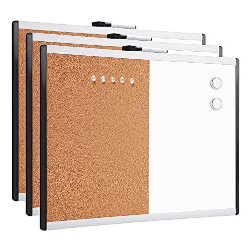 Amazon Basics - Pizarra magnética de borrado en seco y tablón de corcho 2 en 1, bastidor de aluminio y plástico, 43,2 x 58,4 cm, 3 unidades