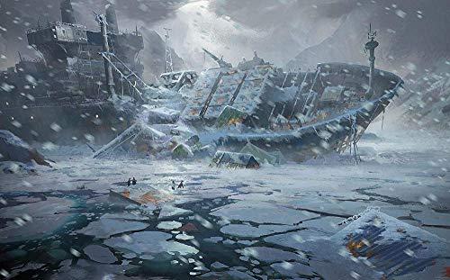 JHEU Puzzle de 1000 Piezas de Rompecabezas de Madera Puzzles Tangram de Madera Destruido Barco Nieve Ciencia ficción Hielo pingüino niños Paisaje