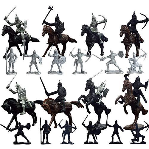 SEALEN 28 PCS Caballeros Juguetes, Guerreros de plástico Caballeros Medievales Caballos Soldado Modelo de Acción Militar Juguetes, Soldados Arcaicos Figuras Juguetes Regalo para Niños