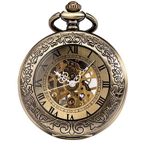 ManChDa Taschenuhr für Herren, spezielle Lupe, mechanisch, Handaufzug, Halbjäger, römische Ziffern, Antike Bronze Taschenuhr mit Kette