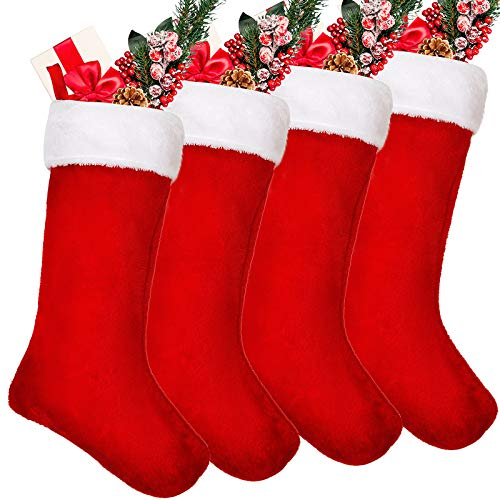20 Inches Velvet Christmas Stockings Plush Fireplace Hanging Red with White Stockings Gift Bags for Party Treat Xmas Decoration (4 Pieces)