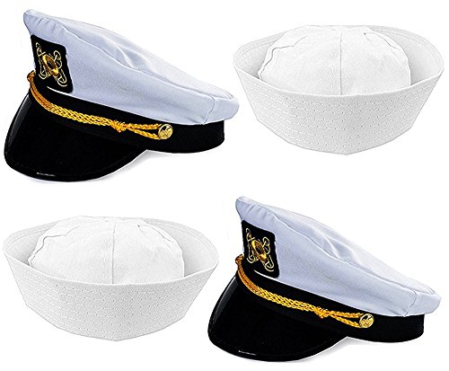 Funny Party Hats Captain Hat and Sailor Hat - 4 Pack - Captain Yacht Hat - Sailor Hats - Dress Up Hats