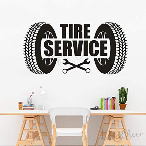 JXND Autoservice Wandkunst Aufkleber Reifenservice Logo Wand Vinyl Aufkleber Bushaltestelle Zeichen Wandmalerei Garage Dekoration 63x30cm