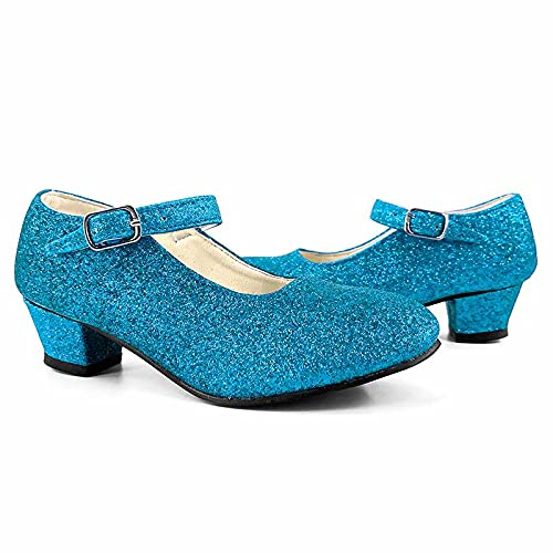 Zapatos Princesa Nias Tacn Purpurina TurquesaTallas Infantiles 22 a 36 [Talla 30] Disfraz Carnaval Regalos Nia Cumpleaos Navidad