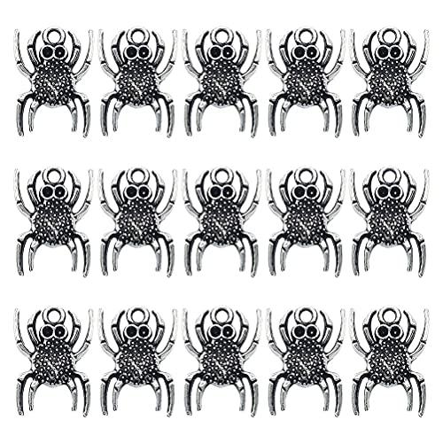 BARUCHT 1 juego de 50 piezas 19mm Halloween colgante collar decoración aleación araña colgante