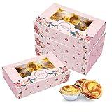 15 Paquetes de Cajas de panadería Rosadas con Ventana para 6 Cajas de Regalo de Papel para Cupcakes, recipientes para Cupcakes,Soporte para Tartas ecológico,Regalos de Fiesta para Galletas,panaderías