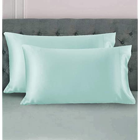 Milano Home Two-Pack Satin Pillowcases Set for Hair & Skin Cool and Easy to WASH Standard Size 28x18 with Envelope Closure (Sky Blue)