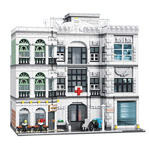PEXL Haus Bausteine Bausatz, Stadtkrankenhaus Modular Architektur Modell, 4953 Klemmbausteine Kompatibel mit Lego