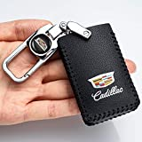 Car Key fob Cover Key case for Cadillac Genuine Leather Protector Keychain CTS XTS SRX ATS Keyless Entry Remote Control Smart Pouch Bag Jacket Case Protector Shell Key fob Cover Key Holder 5-Buttons