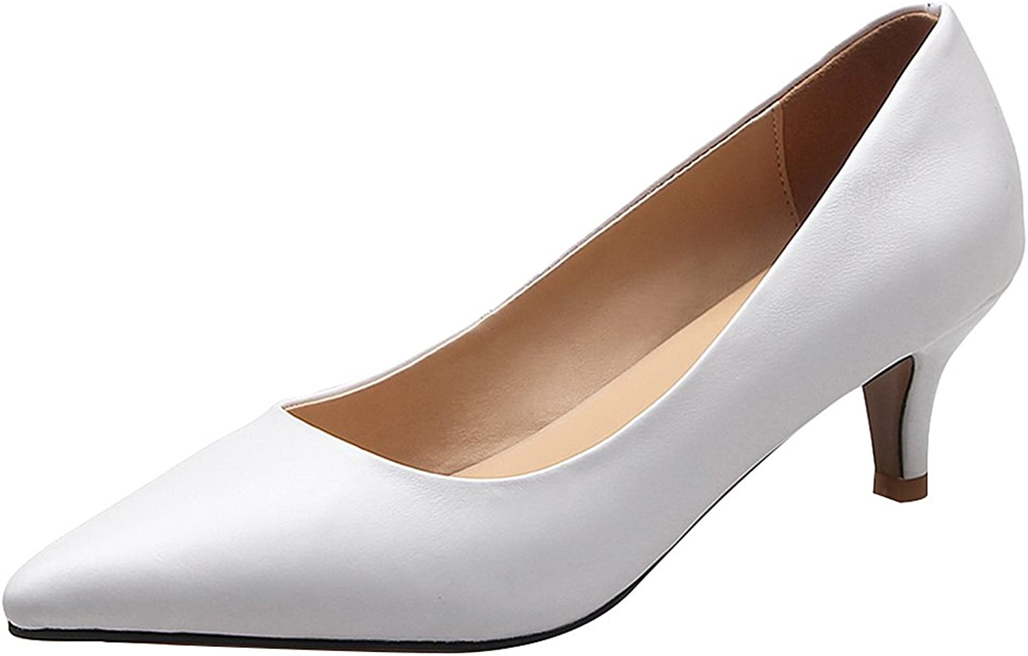 Rismart Women's Pointed Toe Kitten Heel Slip On Wedding Dress Leather Pumps shoes